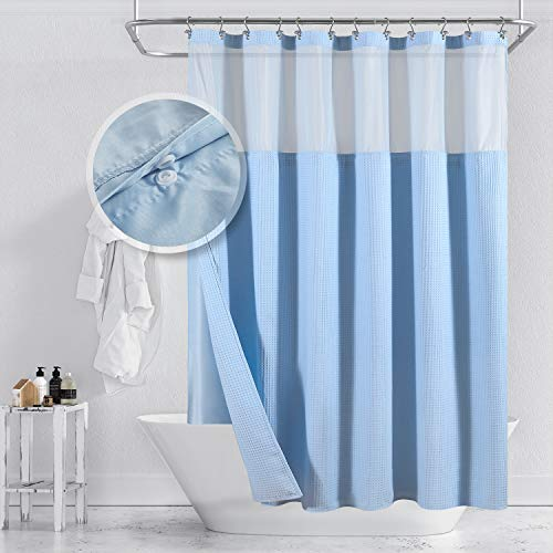 Barossa Design Duschvorhang aus Baumwollmischgewebe, Waffelgewebe, mit einrastbarem Stofffutter, Hotel-Luxusspa, Netzfenster oben, maschinenwaschbar, himmelblau, 180 x 182 cm
