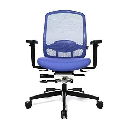 WAGNER AluMedic 5 Bürostuhl, dunkelblau Bezug Stoff Sternfußgestell Aluminium schwarz mit Rollen für Teppichboden
