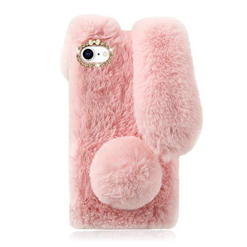 Mikikit Rosa Plüsch Hase Pelzige Handyhülle für iPhone SE 2020/iPhone 7/8, Niedliche Kuscheltier-Plüsch-Flauschige Hülle für Mädchen, stoßfest Schutzhülle Kaninchenfell für Apple iPhone 7/8/SE 2