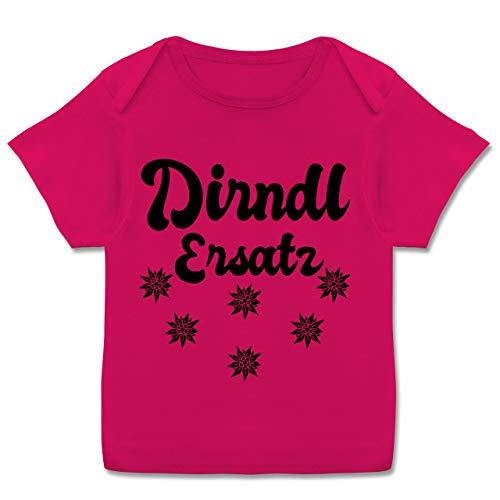 Oktoberfest & Wiesn Baby - Dirndl Ersatz mit Edelweiß - schwarz - 56-62 - Fuchsia - Dirndl Baby 62 - E110B - Kurzarm Baby-Shirt für Jungen und Mädchen