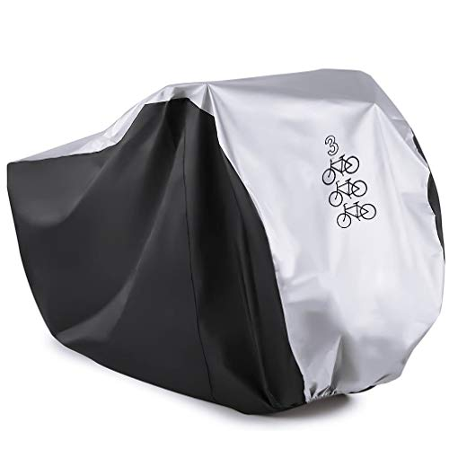 WooZuu Bike Cover for 3 Bikes Cycle Bicycle Rain Cover Waterproof Bike Cover All Weather Dust Resistant UV Protection Ideal for Mountain Bike, Road Bike