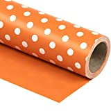 WRAPAHOLIC Reversible Wrapping Paper - Orange and Polka Dot Design for Birthday, Holiday, Wedding, Baby Shower Wrap - 30 inch x 33 feet