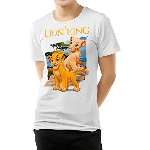 Camiseta Cine Hombre - Unisex El Rey León, Simba y Nala (Blanco, L)