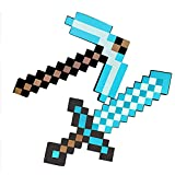 JYMEI Spada Giocattolo in Schiuma per Bambini,Spada di Diamante,piccone,Ascia Pixel,Pala Pixel,Mitra,Pistola Pixel,Scudo Minecraft,Giocattolo per Bambini Finta di Giocare con la Spada(8 Combinazioni)