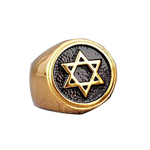 Judaísmo Hexagrama Estrella De David Anillos De Acero Inoxidable Para Hombre Punk Hip Hop Para Hombre Boy Biker Jewelry 7 Gold