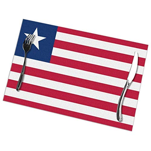 Dy Aari Juego de 6 manteles Personalizados de la Bandera de Liberia, manteles Individuales para la decoración de la Cocina y el Comedor Lavado Antideslizante Resistente al Calor