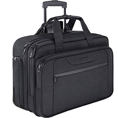 KROSER Trolley Business Rolling Laptop Case mit Rädern Bis zu 17,3 Zoll Laptop wasserdichte Übernacht-Rolltasche mit RFID-Taschen für Reisen/Schule/Männer/Frauen-Schwarz MEHRWEG