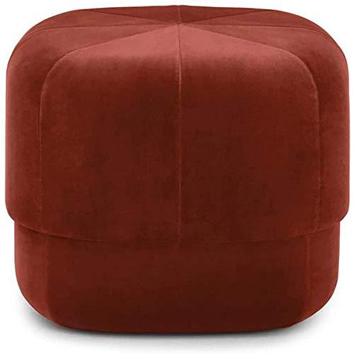 GCE Taburete de pie otomano Redondo reposapiés tapizado - Taburete bajo para sofá - Asiento de Terciopelo para Sala de Estar