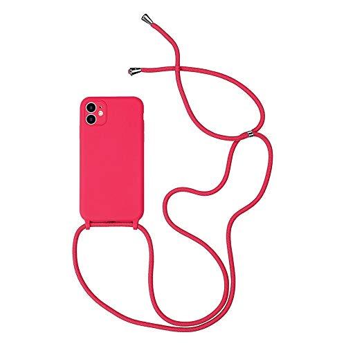 Hadwii Funda para iPhone XR con correa de silicona líquida, transparente, con cordón ajustable, antigolpes, para iPhone XR, color rojo rosa
