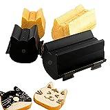 GUANGE Teglie a forma di gatto per pane da forno, teglie alluminate e antiaderenti, stampi per mini torte, scatola per toast, grande con coperchio