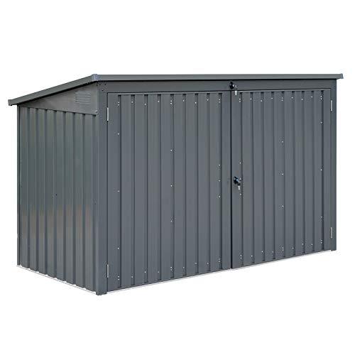 HORI® Mülltonnenbox Mülltonnenverkleidung Müllbox anthrazit I für 3 Tonnen 212 x 101 x 134 cm / 44 kg
