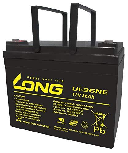 ロング (KUNG LONG BATTERIES) 産業用鉛蓄電池 (12V-20時間率-36Ah) L-196mm×W-130mm×HT-169mm (電動車系) U1-36NE