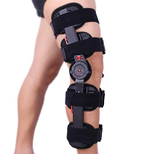 Hinged Knee Brace ROM Adjustable Post Op Knee Support Orthosis Immobilizer Protector for Left Leg and Right Leg, Both Men and Women