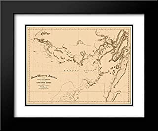 Norton Sound Alaska - Bulkley 1867 24x20 Black Modern Frame and Double Matted Art Print by Bulkley Vintage Map