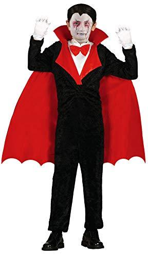 Foxxeo Vampir Kostüm für Kinder GRAF Dracula Umhang Jungen Cape Halloween Größe 122-128