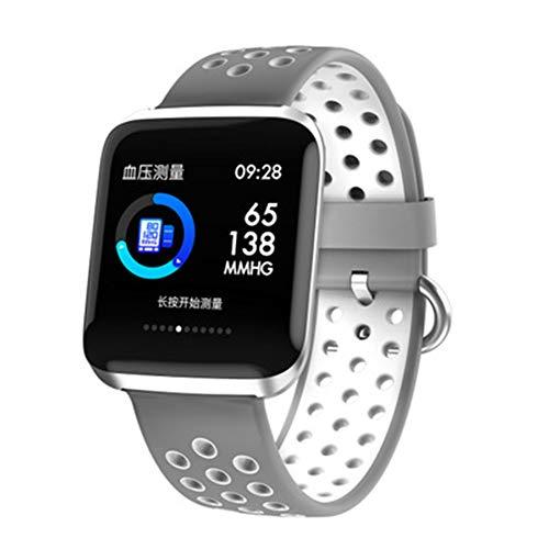 OMJNH Smart horloge met hartslag slaap monitoring waterdichte stappenteller sport informatie om verschillende functies herinneren, voor Android platform, Apple iOS platform,Grijs
