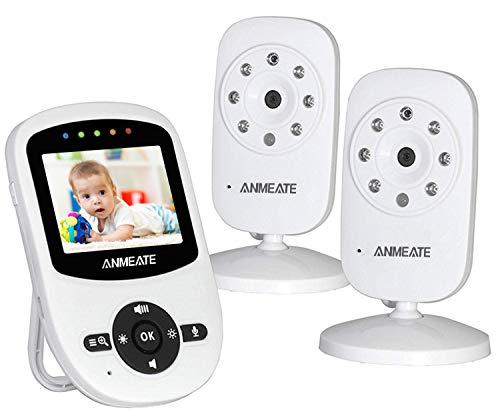 Video Baby Monitor with 2 Digital Camera, ANMEATE Digital 2.4Ghz Wireless Video Monitor with Temperature Monitor, 960ft Transmission Range, 2-Way Talk, Night Vision, High Capacity Battery (2 Camera)