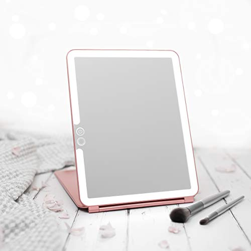 LUNA London Eclipse LED Lighted Travel Vanity Makeup Mirror | 3 Colour Light, Compact, Portable, Lighted, Rechargeable, Illuminated Mirror | Perfect for Travel, Makeup & Beauty Needs | Rose Gold