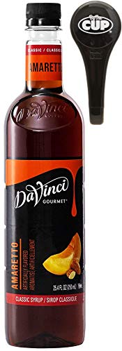Davinci Gourmet Coffee Syrup, Classic Amaretto, 750 ml Bottle with By The Cup Pump