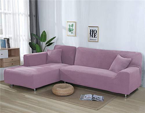 ASCV Fundas de sofá Lisas para Sala de Estar Funda de sofá de Forro Polar elástico Funda de sofá de Esquina Funda Protectora de sofá seccional en Forma de L A3 4 plazas