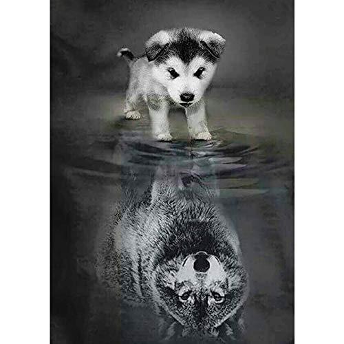 XCJX (45x30cm No Frame DIY 5D Diamond Painting Kits Set Dog to Wolf Diamond Embroidery Cross Stitch Mosaic Diamond
