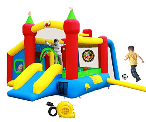 Inflatable Bounce House,Jumping Castle Slide with Blower,Kids Bouncer with Ball Pit