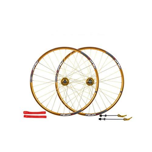 HJRD Bicicleta de Ruedas de 26 Pulgadas, 32H Doble Muro Exterior del Freno de Disco de liberación rápida de Bicicletas de montaña Ruedas 7 8 9 10Velocidad