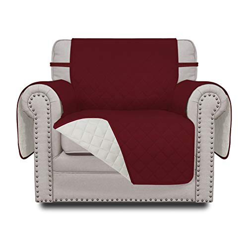 Easy-Going Sofa Slipcover Reversible Chair Cover Water Resistant Couch Cover Furniture Protector with Elastic Straps for Pets Kids Children Dog Cat(Chair,Christmas Red/Ivory)