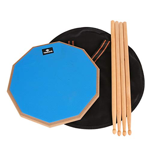 12 inch drum pad,double sided drum pads,snare drum pad with drumsticks and storage...