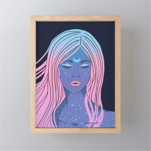 Chica Abstracta Pintar por Numeros Kits DIY Pintura al óleo para Adultos y Niños DIY Pintura acrílica, Pinceles y Pinturas30x40cm sin Marco