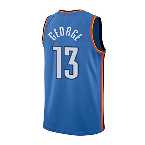 HuLei-Outdoor Camiseta de Baloncesto NBA Paul George Entrenamiento Deportivo para Hombres Nueva Camiseta cómoda XS-XXL Azul, L