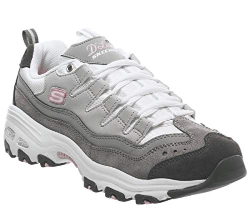 Skechers D'Lite Sure Thing Sneakers Grigio Bianco 13141 GYW (38 Grigio)