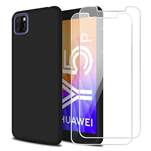 Reshias Hülle kompatibel mit Huawei Y5P,Schwarz Weich Flüssigkeit Silikon Handyhülle Schutzhülle mit Zwei Gehärtetes Glas Schutzfolie Bildschirmschutzfolie für Huawei Y5P (5,45 Zoll)