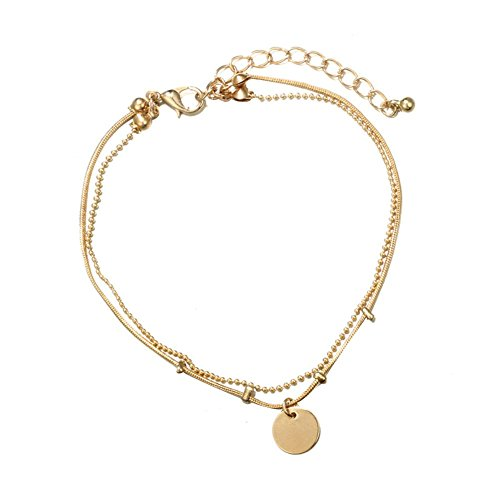 Jewelry Multi-layer Women Chic Disc Anklet Beach Sandal Barefoot Jewelry Ankle Bracelet Foot Beach Jewelry Charm Ankle Bracelets (Silver),Colour:Silver (Color : Golden)