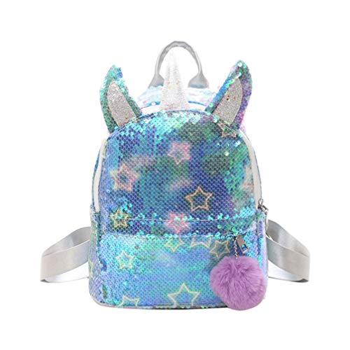 Fenical Rucksack Pailletten Einhorn Schultasche niedlich Glitter Bookbag flippy Reise Daypacks für Frauen Kinder Mädchen - blau