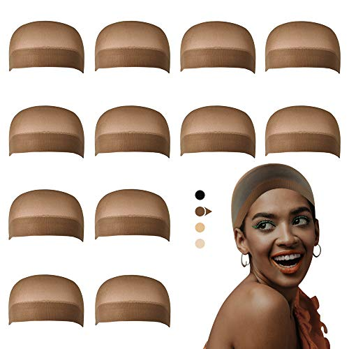 Dreamlover Wig Caps for Lace Front Wig, Brown Stocking Wig Cap for Women, Bald Cap for Wigs, 12 Pack