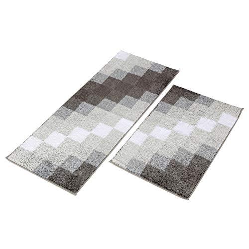 "MustMat Kitchen Rugs Set Non Skid Floor Mat Nice for Bathroom/Bedroom Soft Absorbent Machine Washable (19.6""x 31.5""+19.6"" x 47.2"") (Gray)"