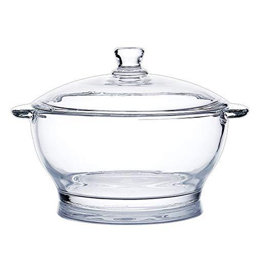 COFFEE CAT Pot à Soupe Cooke en Verre Transparent résistant,cocotte avec poignée Pot de Cuisson Polyvalent résistant à la Chaleur,Pot Multifonctionnel pour Salade de Lait de pâtes foncé