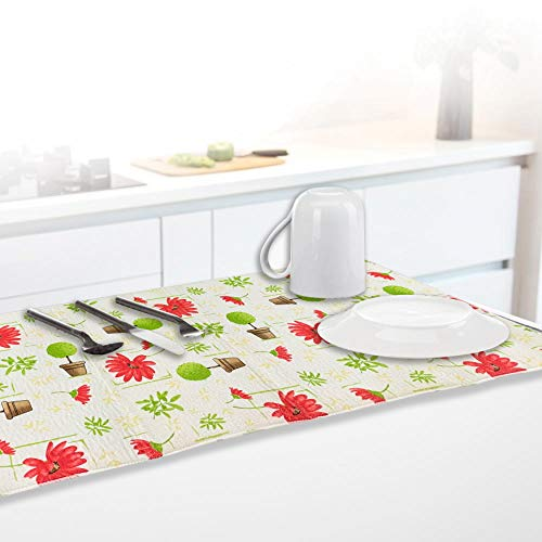 LOOMANTHA miles to go…. Pack of 1 Floral Printed Extremely Absorbent Microfiber Dish Drying Mat, 40cm X 84cm