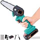 Mini Cordless Electric Chainsaw, 4-Inch Portable Handheld Saw with Rechargeable Battery, Wood Branch