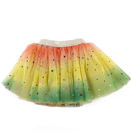 Lazzboy Kleinkind Baby Mädchen Tutu Party Ballett Kostüm Star Pailletten Gaze Regenbogen Röcke Tüllrock Rock Glitter Weichem Tüll-Rock(Gelb,M)