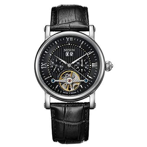 AIZHIJIA Reloj Hombre Skeleton Tourbillon Auto Mecánico Relojes para Hombre Reloj De Cuero Horloges Mannen Reloj