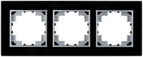 Abdeckrahmen aus Glas, schwarz, 3-fach, (Abdeckrahmen 3-fach, Glas schwarz)