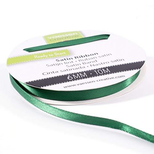 Vaessen Creative 301002-1019 Satinband Dunkelgrün, 6 mm x 10 Meter, Schleifenband, Dekoband, Geschenkband und Stoffband für Hochzeit, Taufe und Geburtstagsgeschenke, 6MM
