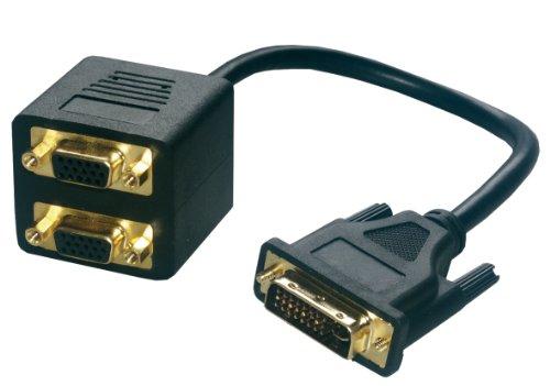 MCL Adaptateur EN Cable DVI-I M / 2xHD15 FM 0,3 m 2...