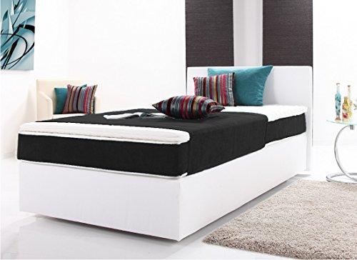 moebel-guenstig24.de Funktionspolsterbett Pluto Boxspringbett Doppelbett Polsterbett Schlafzimmer 160 x 200 cm wei� / schwarz
