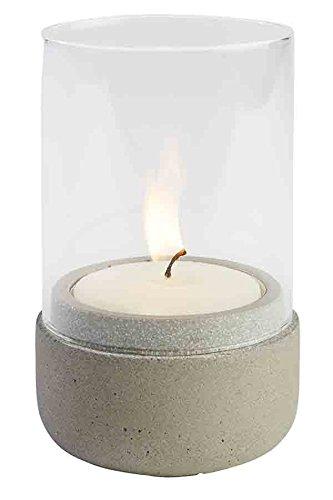 """APS Windlichter """"Element"""", Teelicht, Beleuchtung, Windlicht aus grauem Beton, möbelschonende Unterseite, Ø 7,5 cm, 13 cm Höhe"""