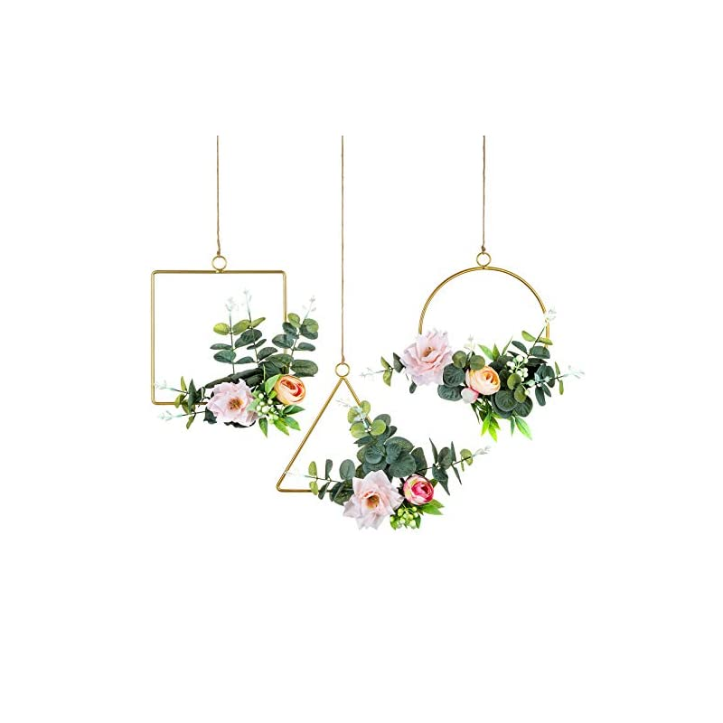 silk flower arrangements sziqiqi floral hoop wreath artificial silk flower eucalyptus greenery garland wreaths for wedding backdrop baby nursery decoration baby shower wall decor set of 3 tea roses