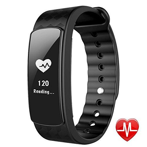 Lintelek Pulsera Inteligente, Fitness Tracker con Monitor del Ritmo cardíaco, Podómetro, Monitor de sueño, Bluetooth 4.0,para iPhone iOS Android, Negro