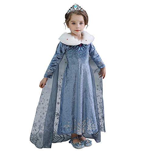IWEMEK - Costume da Elsa o Anna per bambina, da principessa, per Carnevale, Halloween, Natale e le feste, 2-8 anni 01 3-4 Anni